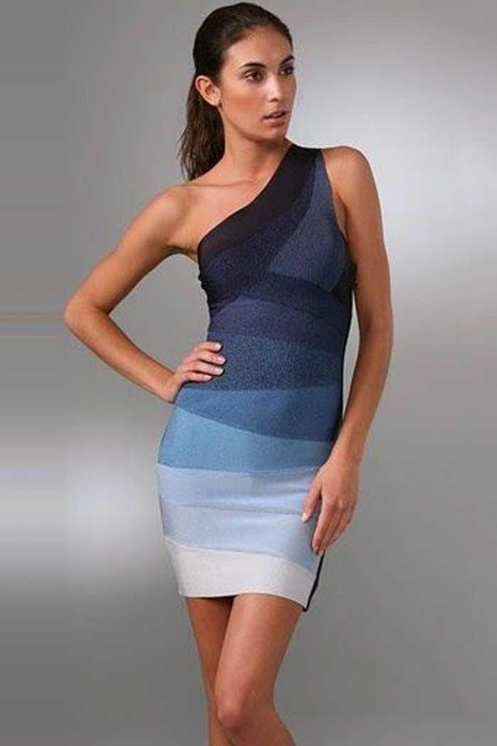 087aab16c64 Herve Leger Alexis Ombre Blue One Strap Bandage Dresses