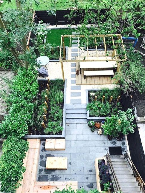 Ein Hausgarten in neuem Glanz is part of Modern garden design, Garden design layout, Backyard garden, Modern garden, Contemporary garden, Small garden design - Ein langes schmales Grundstück, das früher als Nutzgarten diente, soll in einen repräsentativen Hausgarten umgestaltet werden  Zwei Gestaltungsideen mit Pflanzplänen zum Herunterladen und Nachpflanzen