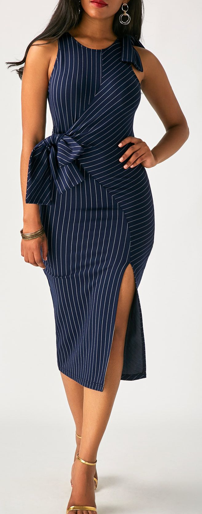 3f772eb673b7 Navy Blue Pinstriped Sleeveless Bow Side Slit Midi Dress | dresses ...