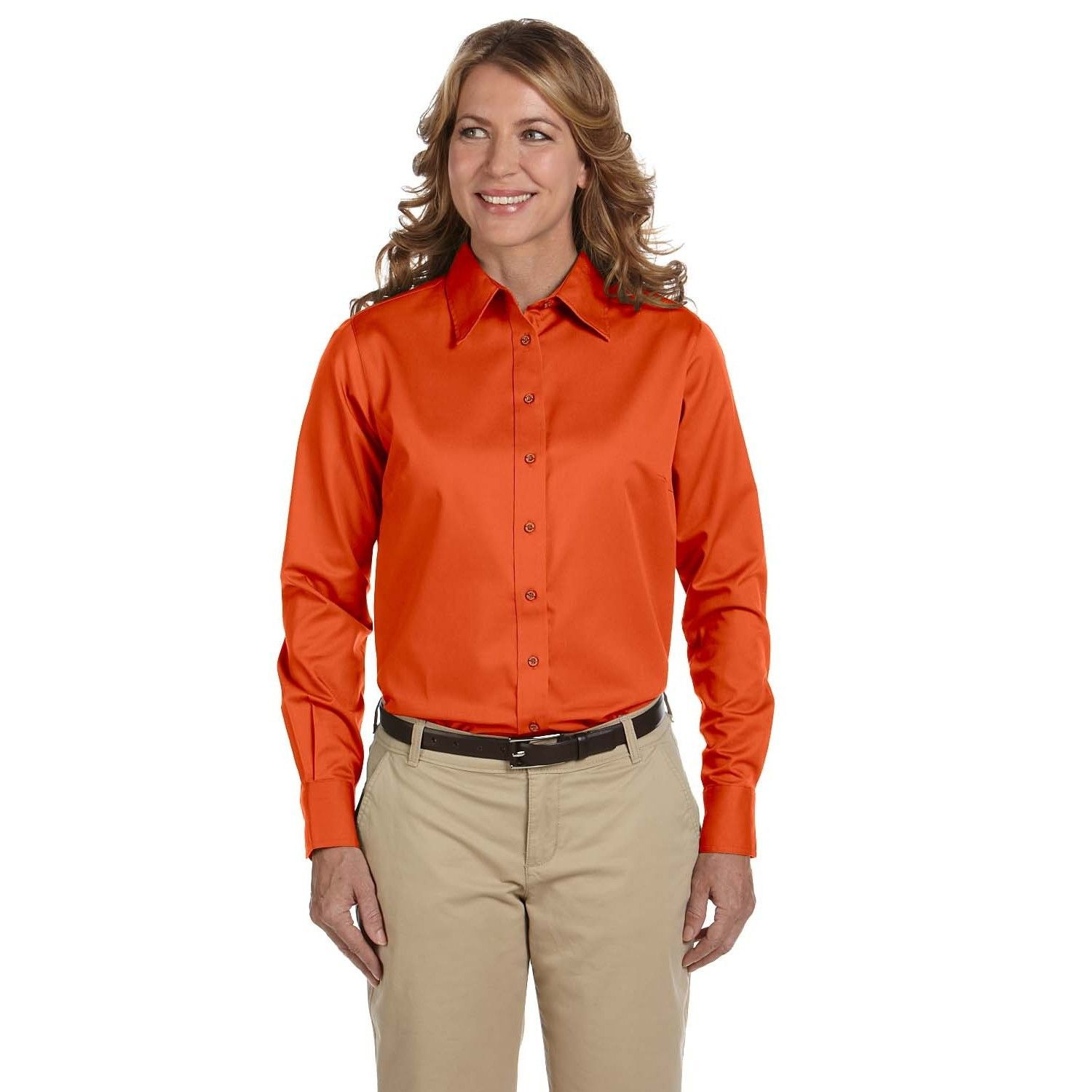 Easy Blend Women's Long-Sleeve Twill With Stain-Release Team Shirt