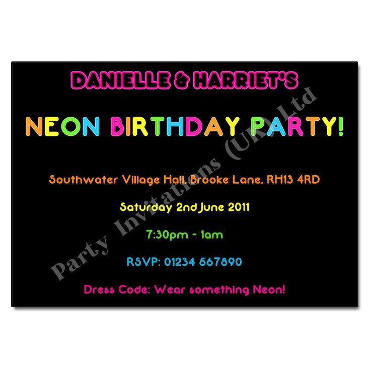 Glow Invitation Wording Home Childrens Party Invitations