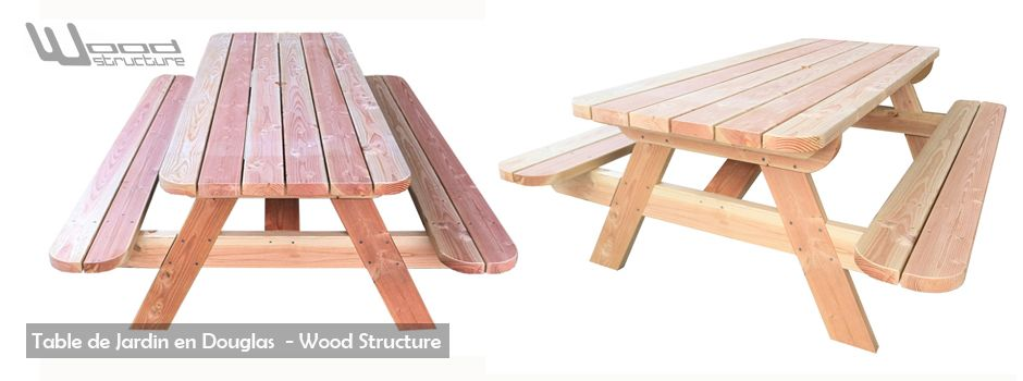 Table de jardin en douglas - Mobilier Bois Merlot ...
