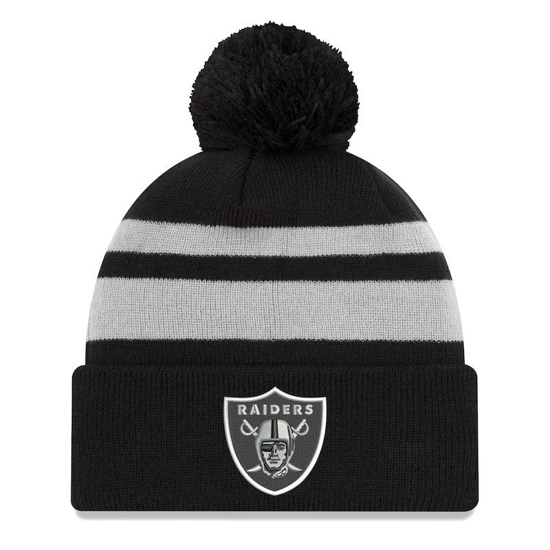 a160bfbe0 Oakland Raiders New Era Cuffed Knit Hat with Pom - Black