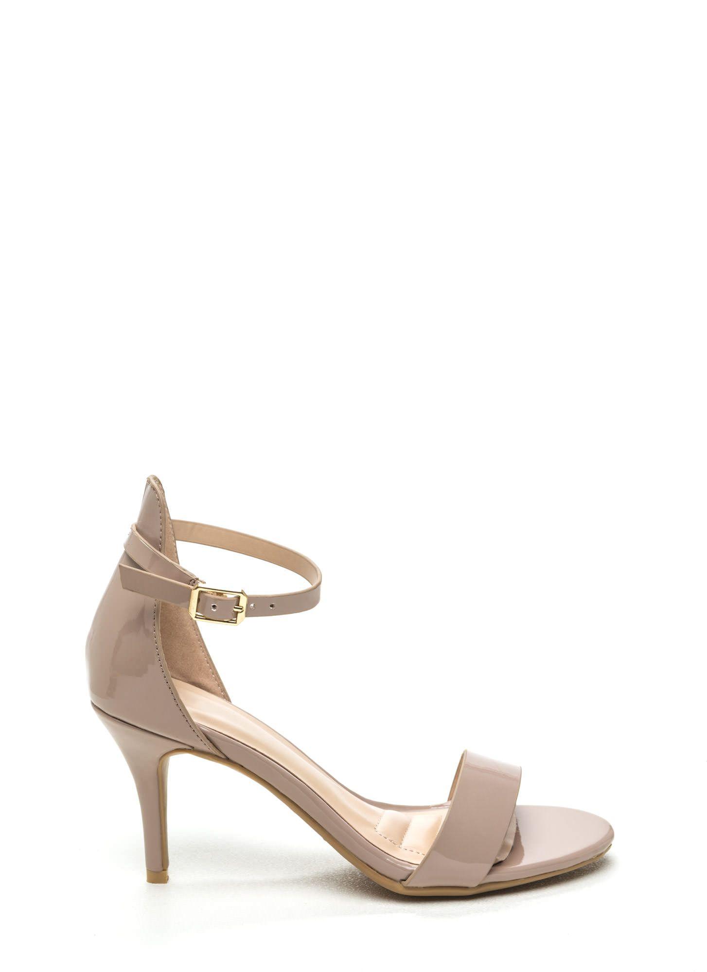 Come Up Short Shiny Strappy Heels BLACK NUDE - GoJane.com ...