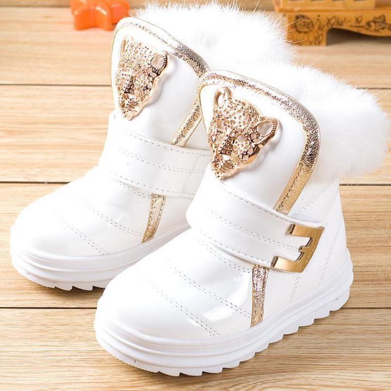 Moda Dzieci Buty z Futra Królika Dziewczyny Śnieg Buty Wodoodporne PU  Pluszowe Botki Zimowe Ciepłe Buty Kobiece Dziecko (Trochę Big Kid) 1a1bf6a0d88e