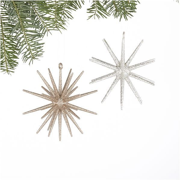 Set Of 2 Glitter 3d Star Ornaments In Christmas Ornaments Crate