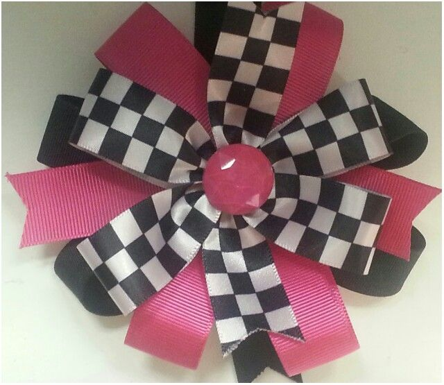 Race Track Bows, Boutique Style Bows available at www