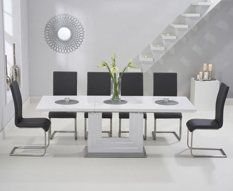Tula 160cm White High Gloss Extending Dining Table With Malaga Chairs