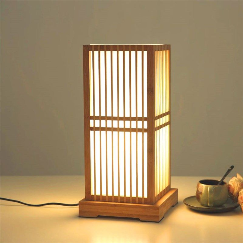 Japanese Square Table Lamp Creative Bamboo Desk Lamp Bedroom Study Room Decorative Lighting Table Lamp Design Bamboo Lamp Japanese Lamps