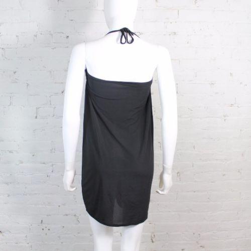 1980s-Norma-Kamali-Dress-Black-Ruched-Bodycon-Tube-Strapless-Halter-L