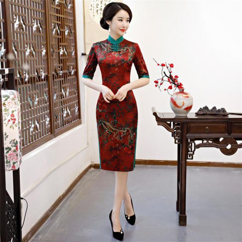 4c1623d7ccf 2018-New-Elegant-Red-Lady-Cheongsam-Casual-Print-Mandarin-Collar-Qipao -Oversized-Floral-Slim-Vestidos-Rayon