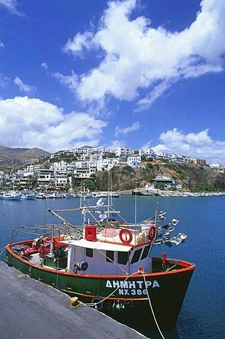 Barco de pesca, puerto, Agia Galini, Creta, Grecia