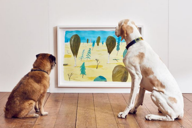 Step Inside A London Art Exhibition Exclusively For Dogs The Pop Up Show Features Artwork In Yellow Blue Tones Visible Art Exhibition Interactive Art Dog Art