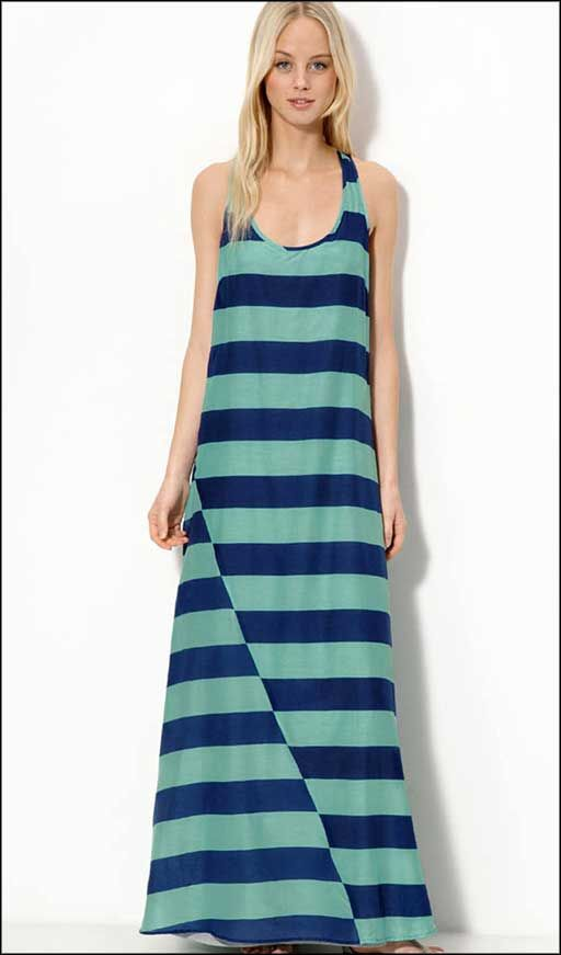 sea-blue-stripped-casual-long-dresses-cotton-silk.jpg | Casual ...
