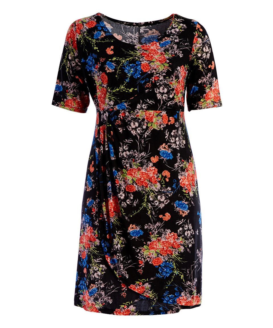 Take a look at this Black Floral Faux Wrap Dress - Plus today!