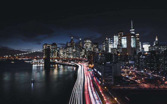 Download wallpapers 4k, Manhattan, New York, Brooklyn