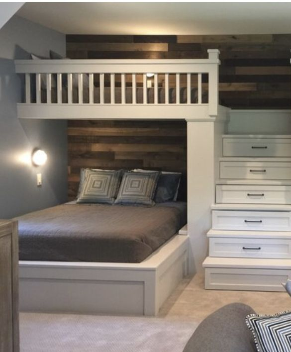 Photo of LOVE the shiplap rustic wall and the bunk storage in the stairs for the lake hou…