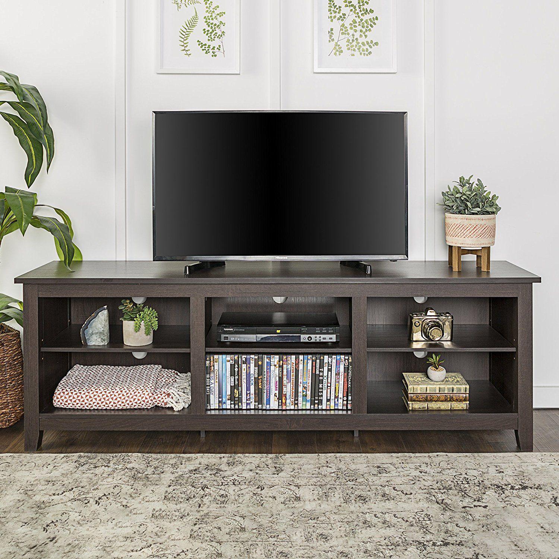 We Furniture 70 Espresso Wood Tv Stand Console Entertainment Center Mebel Dlya Gostinoj Idei Dlya Ukrasheniya Mebel