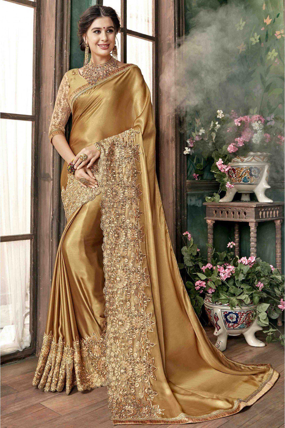 4b8c8b020d Georgette Designer Saree In Gold Colour in 2019 | Indian | Lace ...