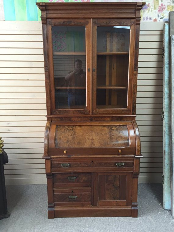Gorgeous Antique Victorian Cylinder Roll Top Secretary Desk With