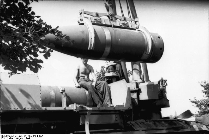 "Karl-Garet ""Thor"" siege gun loading a massive shell to be fired"