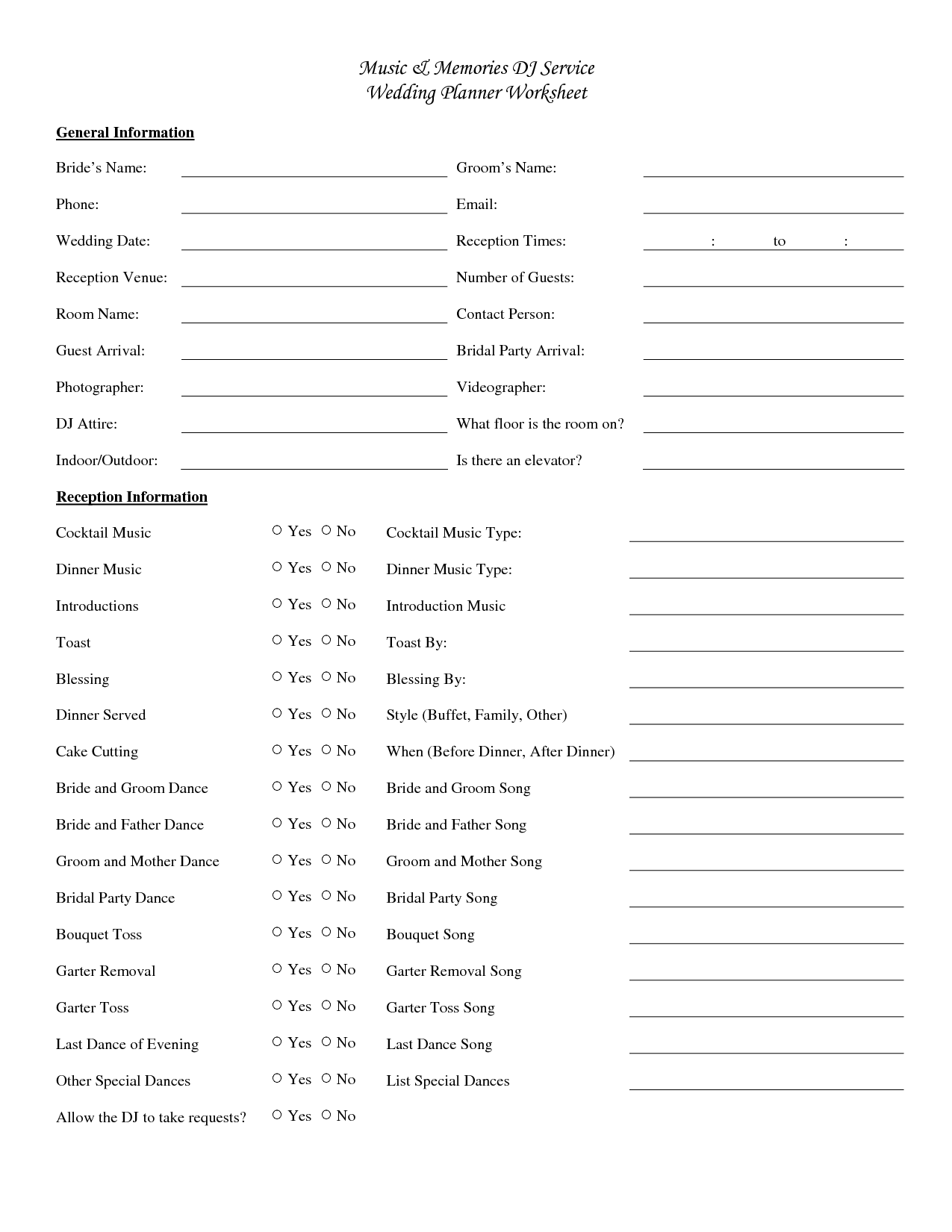 Worksheets Wedding Planning Worksheets wedding dj checklist music memories service planner worksheet yes no yes