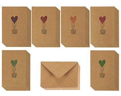 36 Brown Kraft Paper Greeting Cards 6 Colorful Heart Air Balloon