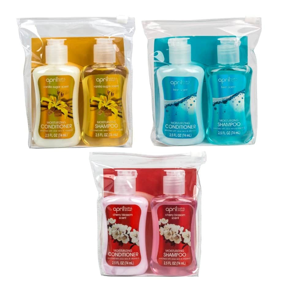 April Bath Shower Travel Size Shampoo And Conditioner 2 Ct
