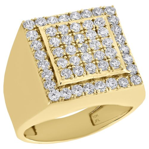 Real 10k Yellow Gold Cubic Zirconia Tier Square Top Pinky Ring Mens Band 18mm Pinky Ring Ring Jewellery Design Rings For Men