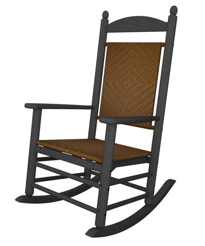 Polywood K147FGYTW Jefferson Woven Rocker in Slate Grey / Tigerwood
