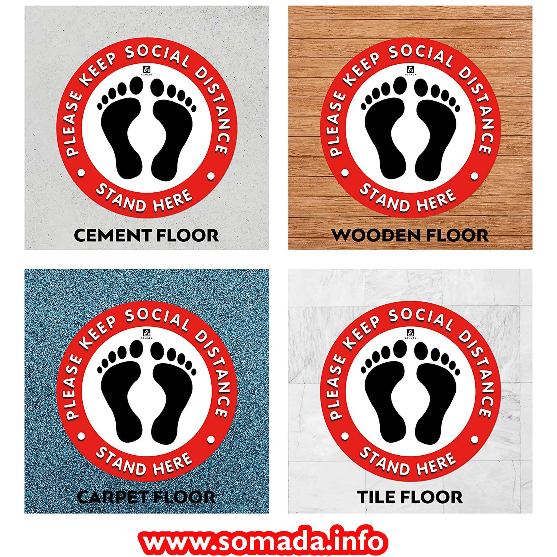 "Social Distancing Floor Decals 5Pack 12"" Round Self"