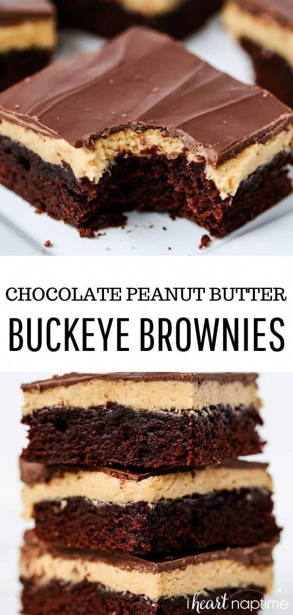 These rich buckeye brownies are filled with delicious layers of peanut butter and chocolate ganache