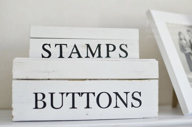 stamps and buttons boxes