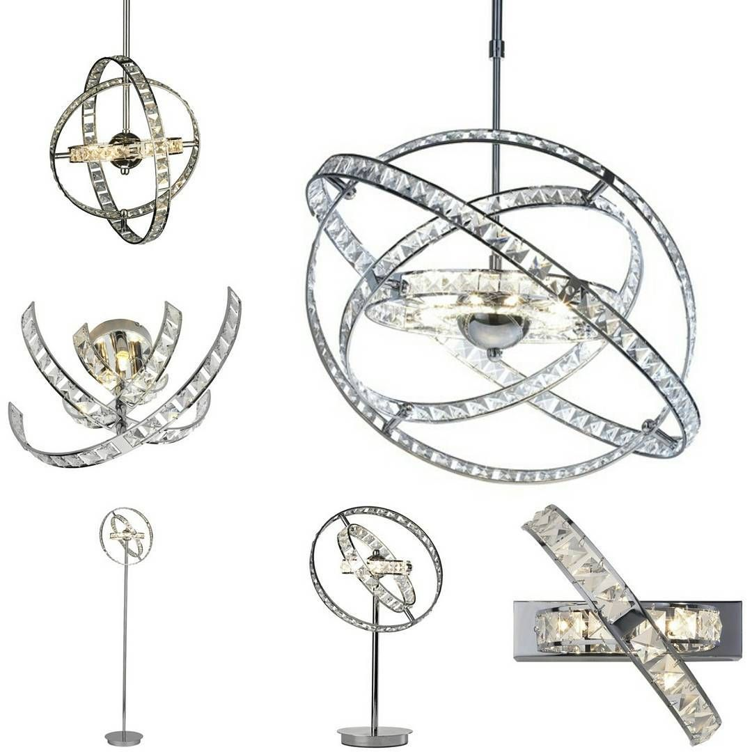 Eternity Crystal Glass Square Orbit Sphere Chrome