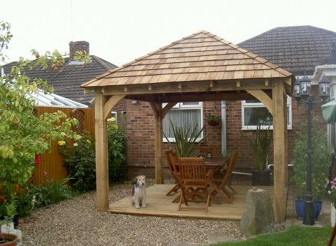Wooden shingle roof pergola google search outdoor for Cedar pavilion plans