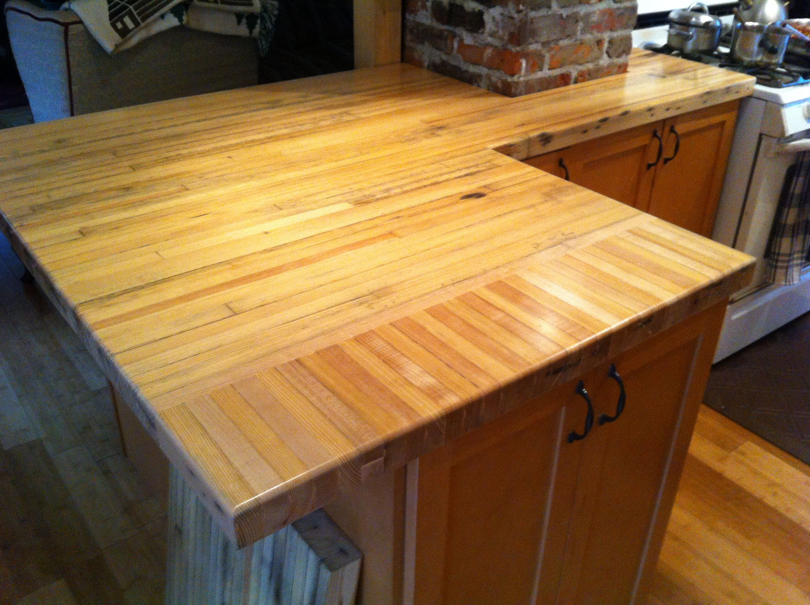 Reclaimed Bowling Alley Floor Repurpased As A Countertop New