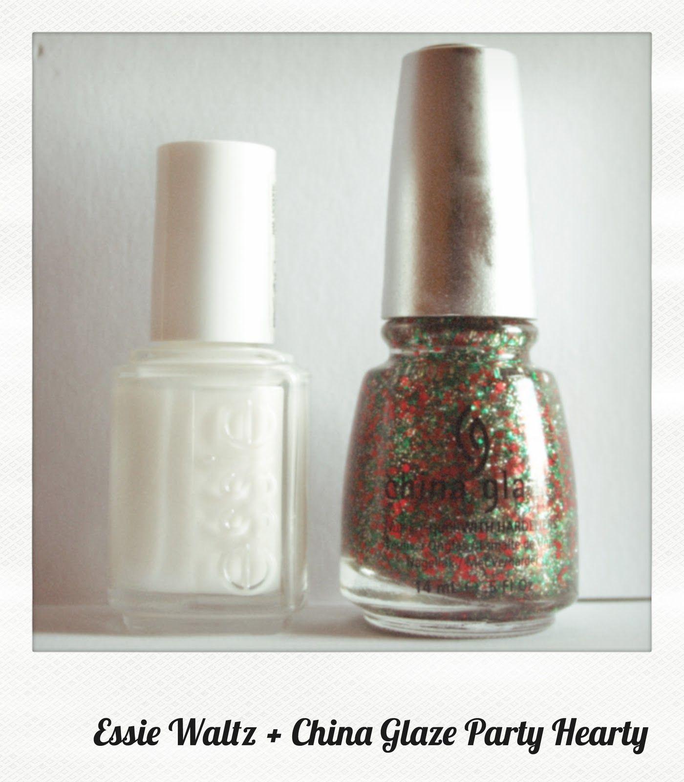 Essie Waltz + China Glaze Party Hearty : paillettes + Noël + dégradé ...