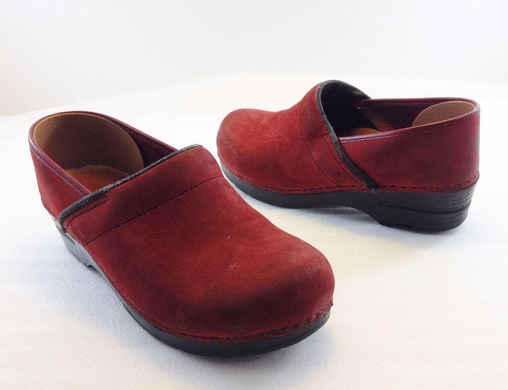 29012e9a7f5 Dansko Sanita Red Suede Clogs Shoes Womens 41 EU 10.5 - 11 US Made .