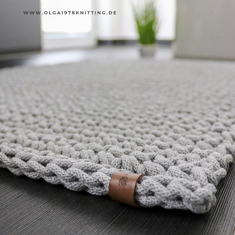 Tapis De Salle De Bains Tapis De Bain Tapis Cordon De Coton Crochete In 2020 Teppich Hakeln Teppich Badteppich