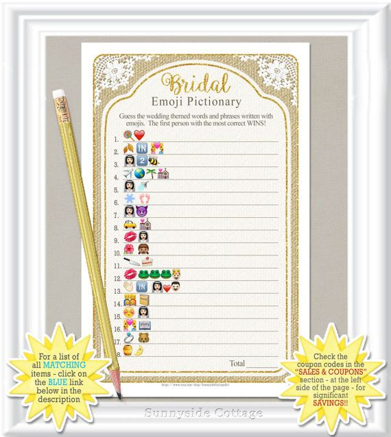 EMOJI Pictionary Bridal Game Rustic Country By
