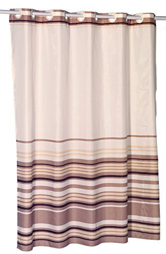 Brown Stripes Ez On Hookless Fabric Extra Wide Shower Curtain With