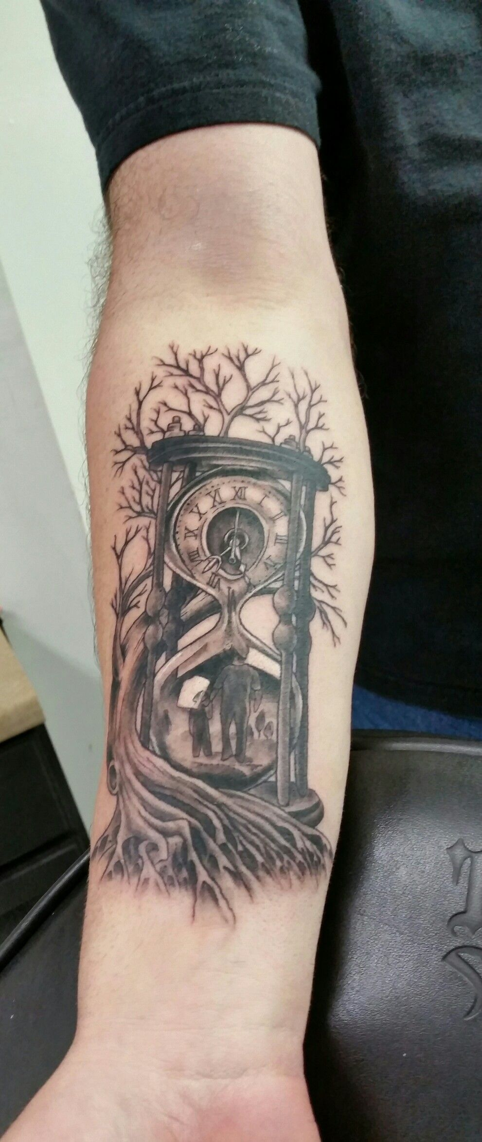 Time Family Father And Son Hour Glass Tree Roots Tattoo