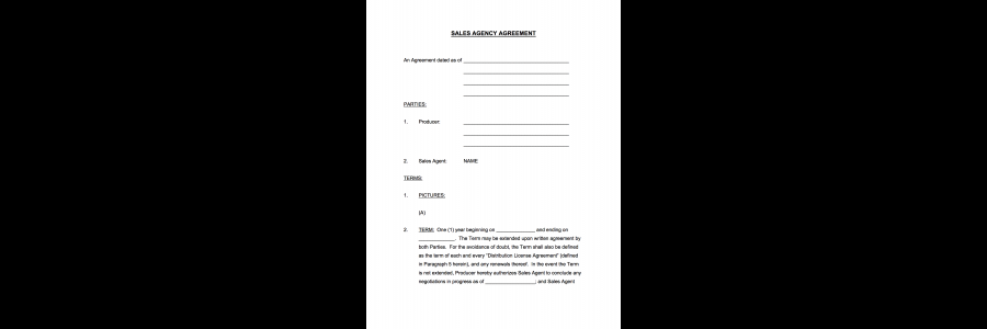 Film Sales Agency Agreement Boiler Template Of What Your