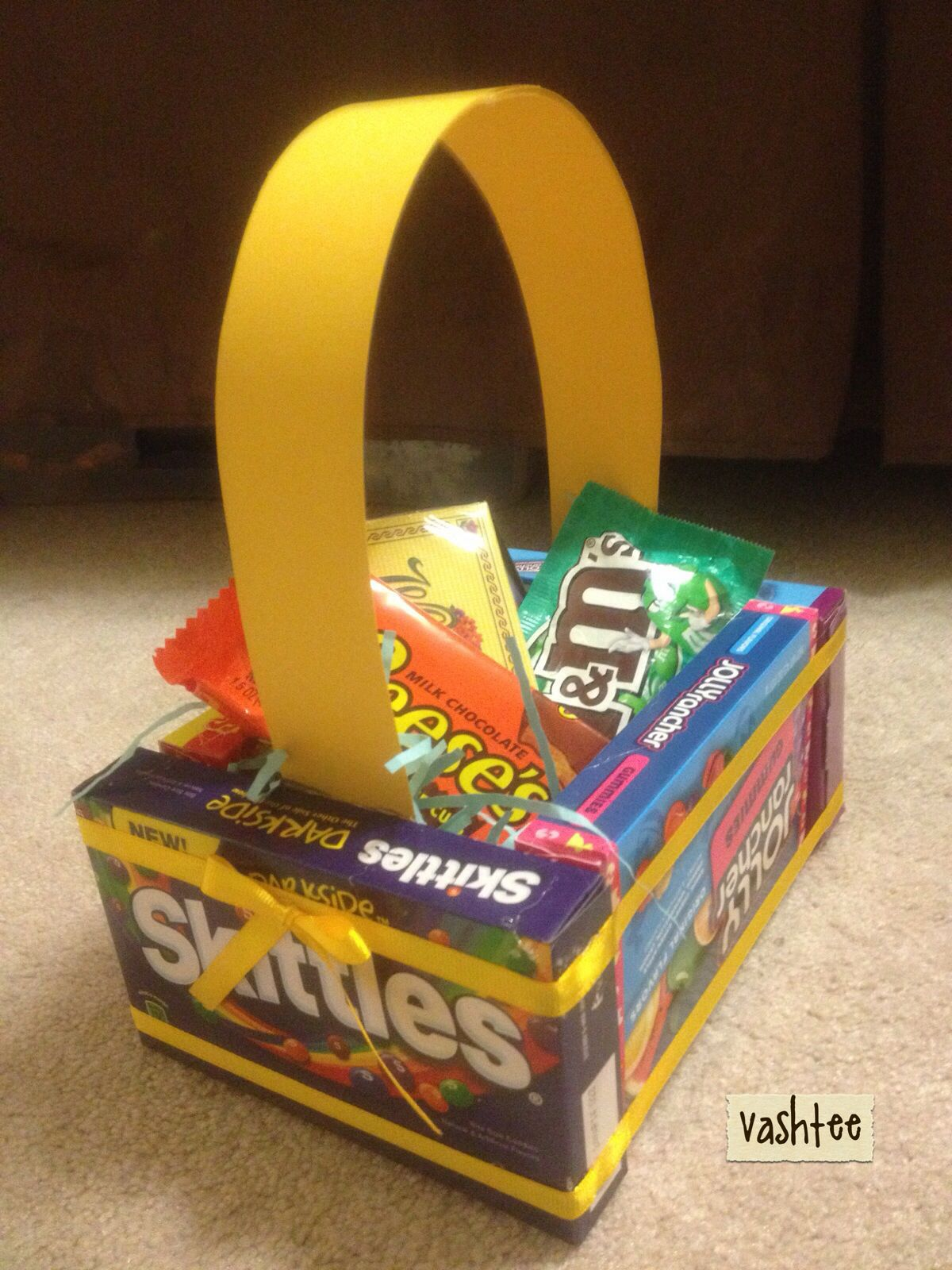 Easter basket made out of candy boxes easter pinterest easter basket made out of candy boxes negle Images