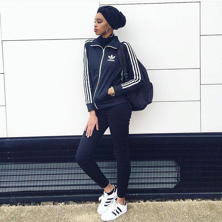 Hijab Adidas Tracksuit (sheikhastyles) Adidas Tracksuit, Muslim Women  Fashion, Hijab Style,