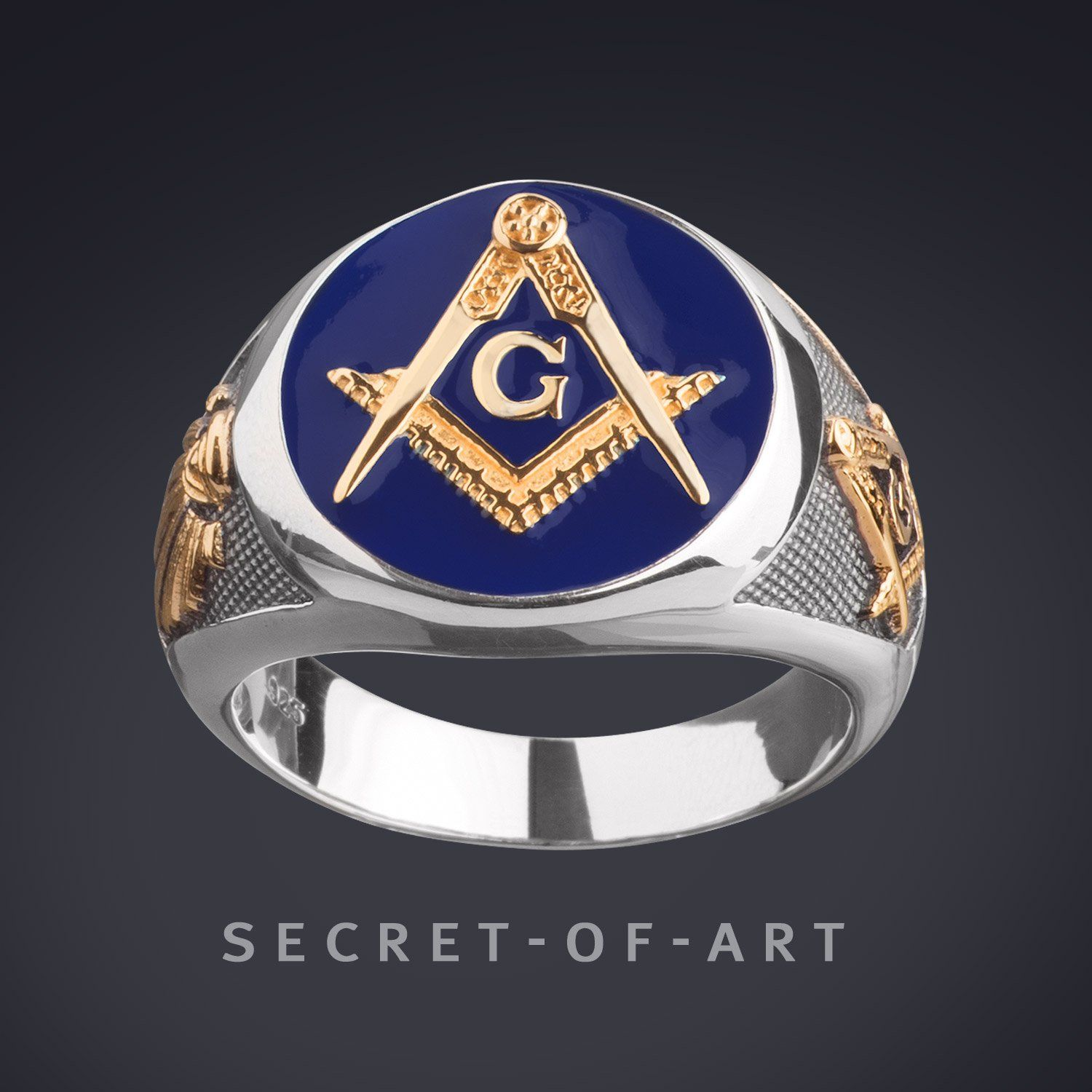 a888000505851 Masonic Ring Blue Lodge 925 Silver with 24K-Gold-Plated Parts and ...