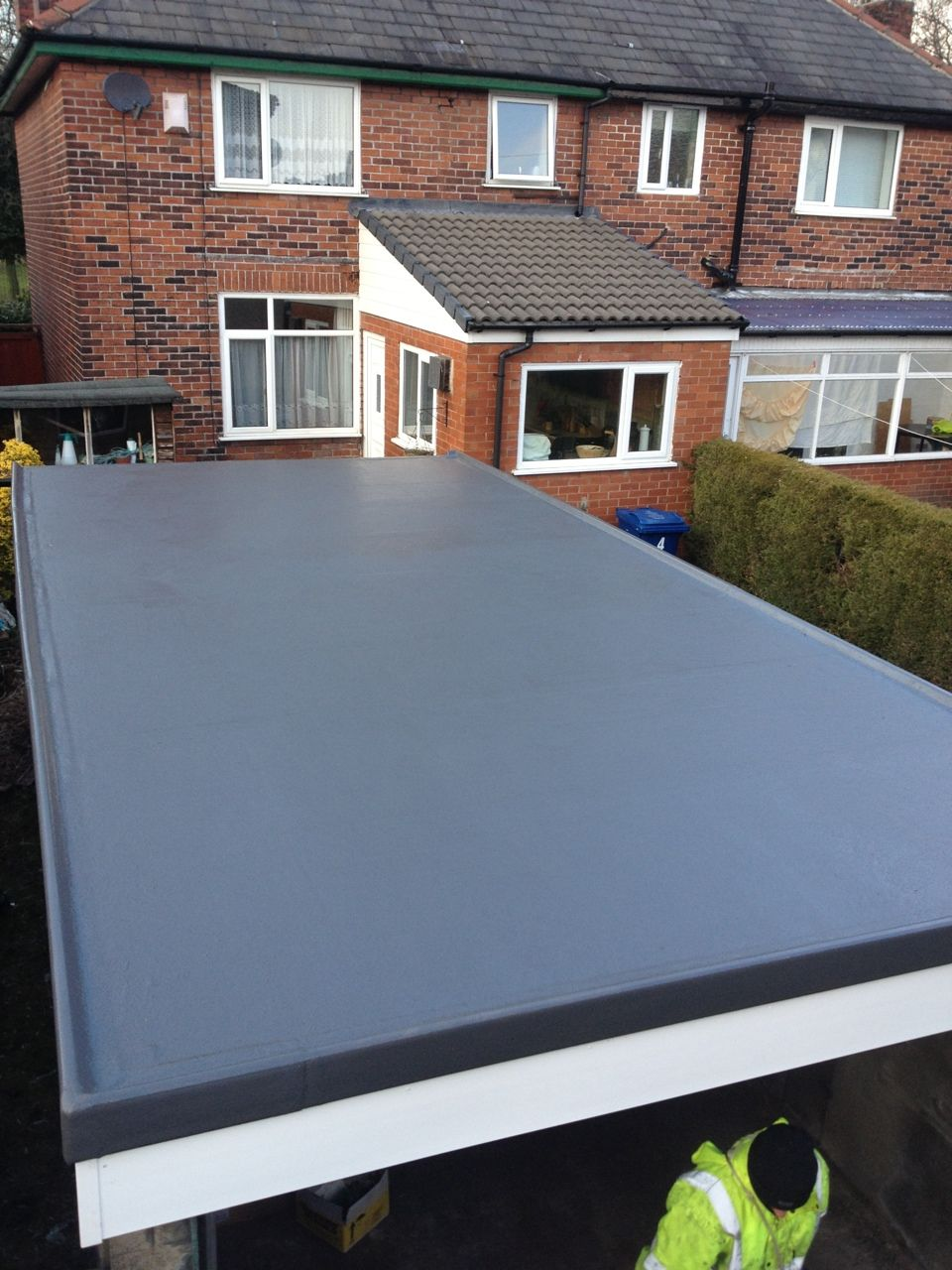This Garage Roof In Bury Was Completely Transformed When We Installed A Grp Roofing System A Long Time Hardwearin Roofing Options Garage Roof Flat Roof Design