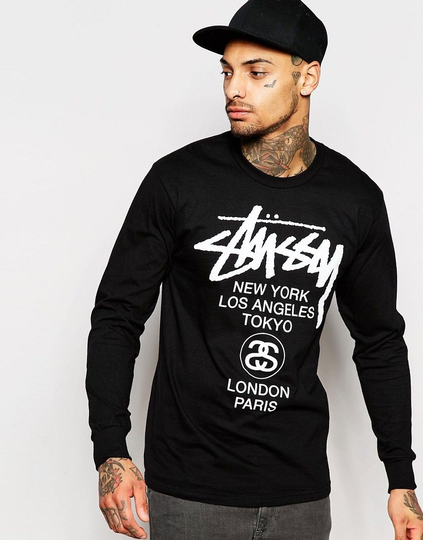 240b2a72974eaa Image 1 of Stussy Long Sleeve T-Shirt With World Tour Print