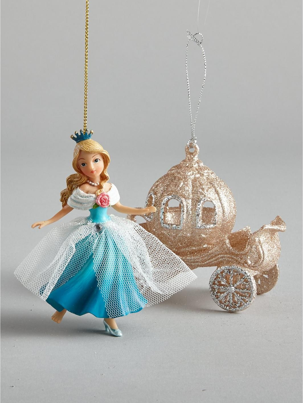Gisela Graham Cinderella And Carriage Hanging Christmas Tree Decorations (2  Pack), Http: