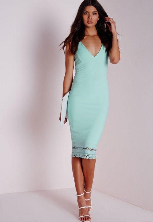 Crepe Plunge Strappy Laser Cut Midi Dress Green - Dresses - Midi Dresses -  Missguided dd44d7821603
